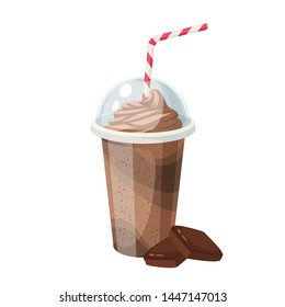 Colorful fruit milkshake design. Plastic cup with lid and straw, full of chocolate milk shake. Vector illustration cartoon flat icon isolated on white.