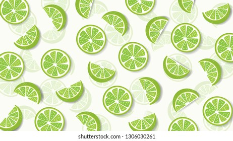 Colorful fruit pattern of fresh lime slices background