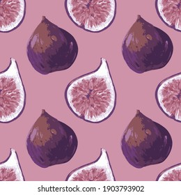 Colorful fruit seamless pattern of fresh figs. Design for wallpaper, background, fabric, textile, cafe, restaurant, resort, exotic, packaging.