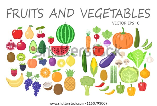 Awe Inspiring Colorful Fruits Vegetables Clipart Set Fruit Stock Vector Interior Design Ideas Pimpapslepicentreinfo