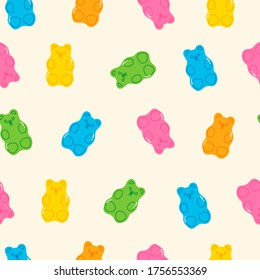 Colorful Fruity and tasty Sweets and candies. Various Gummy and Jelly Bears. Hand drawn Vector Trendy illustration. Cartoon style. Seamless Pattern, Background, Wallpaper. Perfect for prints