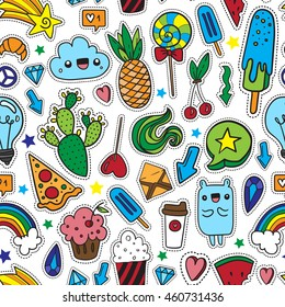 Colorful fun seamless pattern of quirky cartoon doodle patch badges. Print pin, badge, sticker, collection.