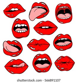Colorful fun set of female lips stickers, icons, emoji, pins or patches in cartoon 80s-90s pop comic style. Woman's mouth with red lipstick makeup in different emotions.