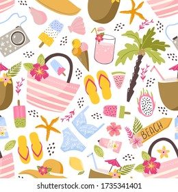 Colorful fun summer seamless pattern with tropical leaves, flowers, beach and summer accessories. Beach and summertime vacation holidays repeating background for fabric, textile, branding