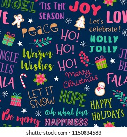 Colorful fun typography with christmas elements seamless pattern background