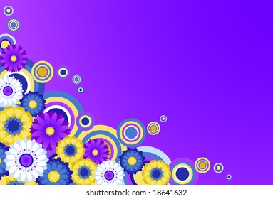 Colorful funky floral background.