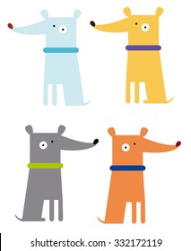 Colorful funny dogs set vector