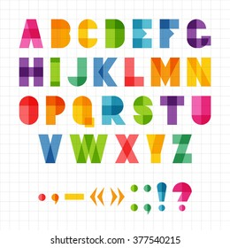 Colorful funny geometric alphabet with overlap effect, vector illustration. For kids birthday poster or logo.
