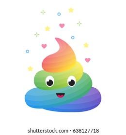 Colorful funny rainbow poop, cute excrement of unicorn isolated vector