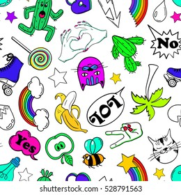 Colorful funny seamless pattern of fashion stickers, emoji, pins or patches in cartoon 80s-90s comic style.