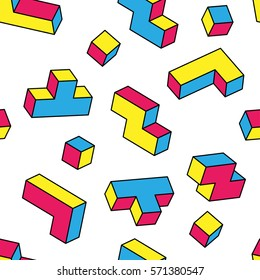 Colorful game 3d blocks seamless pattern on white background. Vintage 80s style design. Clipping mask used.