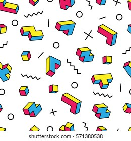 Colorful game 3d blocks and various graphic elements on white background. Memphis style design. Clipping mask used.