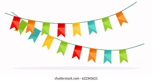 Colorful garland celebration detail. Design element with colored flags. For greeting card or poster. Vector illustration.