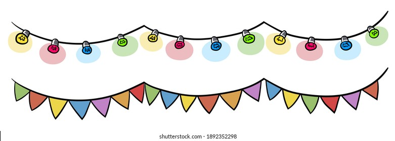 Colorful garland and party flags