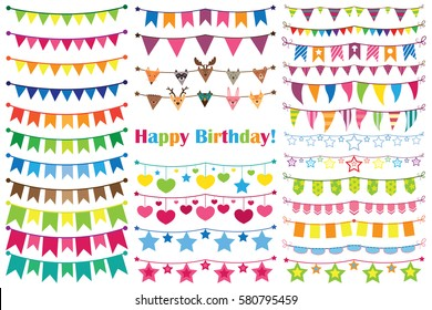 Colorful garlands birthday, set of ornaments. Vector illustration