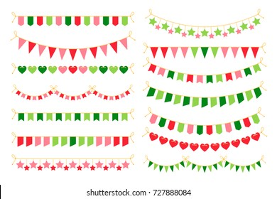 Colorful garlands with flags. Carnival design elements for congratulation banners and birthday invitations vector illustration