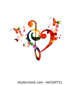 Colorful G-clef heart with butterflies