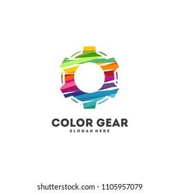 Colorful Gear logo designs concept vector, Service logo designs vector