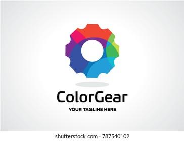 Colorful Gear Logo Template Design Vector, Emblem, Design Concept, Creative Symbol, Icon