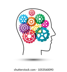 colorful gear wheels in head, artificial intelligence concept, technology vector design