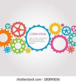 Colorful Gears Abstract Background - vector EPS10