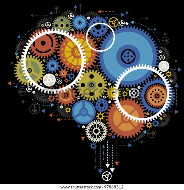 Colorful gears forming a human brain. the concept of brain work