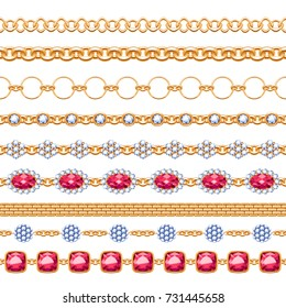 Colorful gemstones and chains seamless horizontal borders set. Good for bracelet necklace jewelry design.