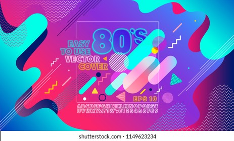 Colorful geometric 80's background. Retro alphabet font. Vintage Alphabet vector 80 s, 90 s Old style graphic poster cover. Eighties style graphic template. Easy editable for Your design.