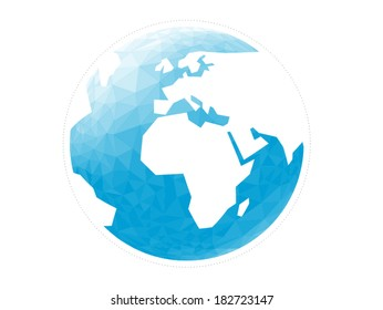 Colorful geometric abstract earth globe sphere vector graphic template concept illustration isolated on light white background
