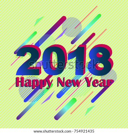 colorful geometric abstract new year background in memphis style holiday hipsters dynamic background with new