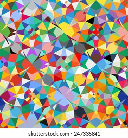 Colorful geometric abstract pattern with variety of shapes and colors in 1970s fashion style. Multicolor vector seamless background.
