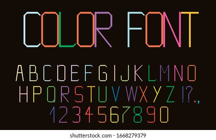 Colorful geometric alphabet. Bright modern font. Vector illustration.