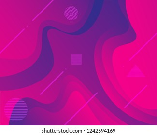 Colorful geometric background. backgroud with gradient color pink and purple. Curve shapes composition. Eps10 vector.