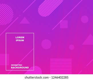 Colorful geometric background. backgroud with gradient color pink and purple. Lines curve shape composition. Eps10 vector illustration.