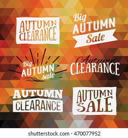 Colorful geometric background card with set of autumn sale logos. Vintage autumn geometric clearance banner. Vector Orange Poster.