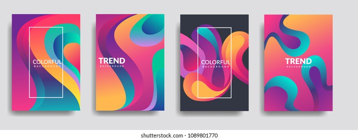 Colorful geometric background. Liquid, flow, fluid background. Fluid shapes composition. Modern abstract covers set. Fluid colors shapes. Poster design. Cool gradient shapes background. Eps10 vector.