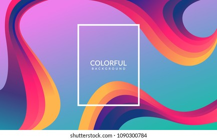 Colorful geometric background. Liquid, flow, fluid background. Fluid 3d shapes composition. Modern abstract cover. Fluid colors shapes. Poster design. Cool gradient shapes background. Eps10 vector.