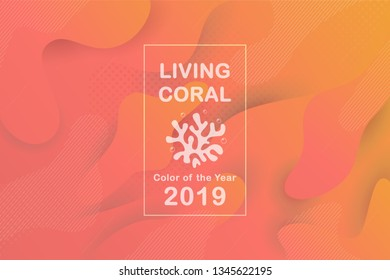 Colorful geometric background in сoral and orange tones. Color of the year 2019. Gradient fluid shapes composition for modern banners, flyers, landing page, poster. Vector illustration.
