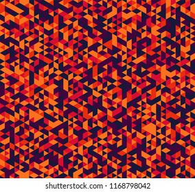 Colorful geometric background. Vector seamless pattern with red, orange, blue and purple triangles.