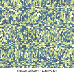 Colorful geometric background. Vector seamless pattern with blue, yellow, and green triangles.