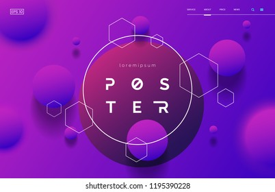 Colorful geometric background for web page with 3d effect. Vertical abstract poster with space for text. Neon shapes composition. Element for your design. Vector eps 10.