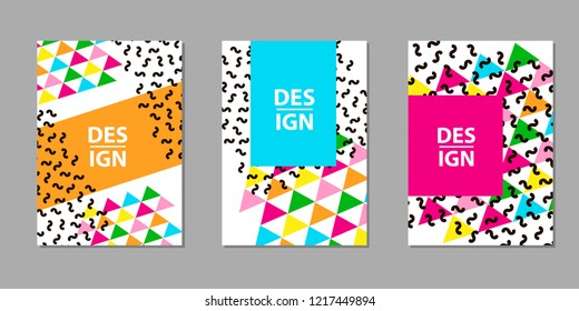 Colorful geometric backgrounds. Templates for card, banner, poster, flyer, cover. Vector illustration