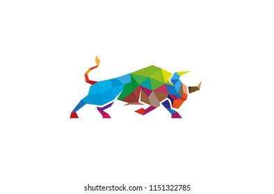 Colorful Geometric Bull Logo Symbol Vector Design Illustration