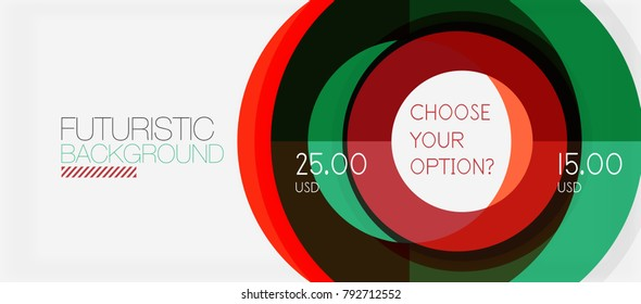 Colorful geometric circle modern abstract background with infographics option elements. Business presentation template