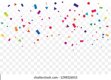 Colorful Geometric Confetti On Transparent Background. Celebration & Party. Vector Illustration