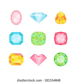 Colorful Geometric Diamonds - for design and scrapbook - in vector