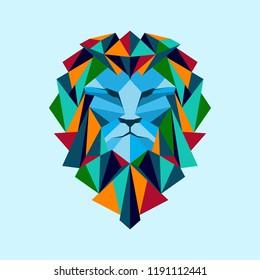 Colorful Geometric Head Lion