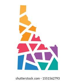 colorful geometric Idaho map- vector illustration