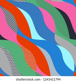 Colorful geometric pop art seamless pattern with waves