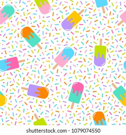 Colorful geometric popsicle seamless pattern with sprinkle background in memphis style